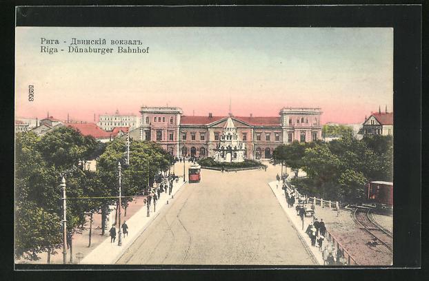 AK Riga, Dünaburger Bahnhof aus der Vogelschau, Strassenbahn