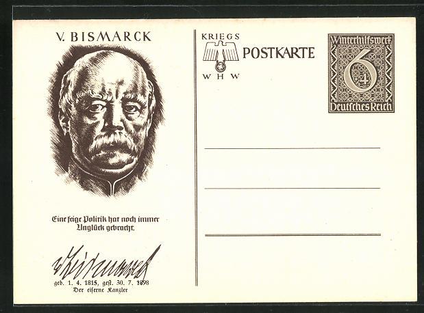 AK Portrait Fürst Otto von Bismarck, Ganzsache WHW Winterhilfswerk,