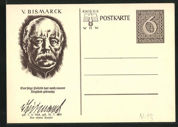 AK Ganzsache WHW Winterhilfswerk, Portrait Fürst Otto von Bismarck,