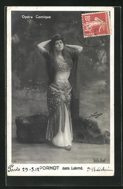 Foto-AK Nadar: Opera Comique, Portrait von Pornot im Kostüm