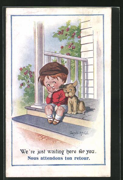 Künstler-AK Donald McGill: Bube warten mit Hund auf der Veranda