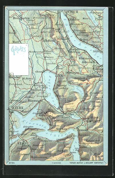 AK Zug, Landkarte mit Luzern, Affoltern u. Cham