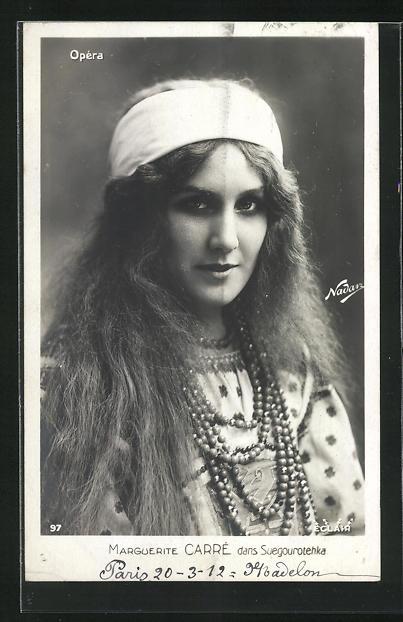 Foto-AK Nadar Nr. 97: Portrait Marguerite Carre dans Suegourotehka