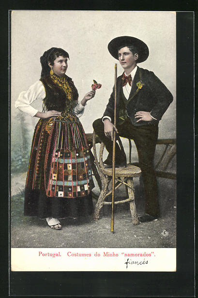 AK Portugal, Costumes do Minho Namorados, portugiesisches Paar in Tracht