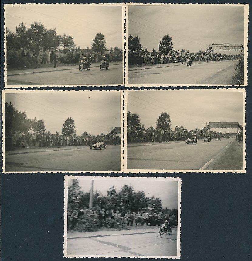 5 Fotografien Motorradrennen, Rennmotorräder zum Teil mit Seitenwagen auf der Rennstrecke