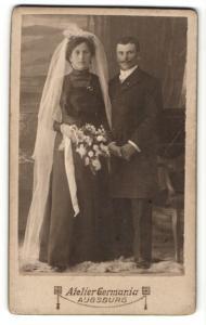 Fotografie Atelier Germania, Augsburg, Portrait Braut und Bräutigam, Hochzeit