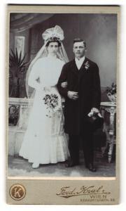 Fotografie Ferd. Kral, Wien, Portrait Braut und Bräutigam, Hochzeit