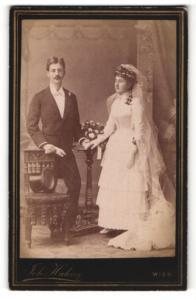Fotografie Joh. Hahn, Wien, Portrait Braut und Bräutigam, Hochzeit