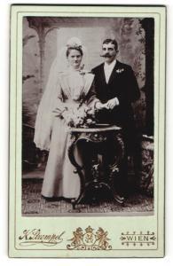 Fotografie K. Strempel, Wien, Portrait Braut und Bräutigam, Hochzeit