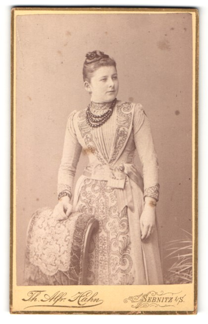 Fotografie Th. Alfr. Hahn, Sebnitz i/S, Portrait bürgerliche Dame