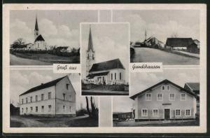 AK Gundihausen, Strassenpartie im Ort, Blick zur Kirche