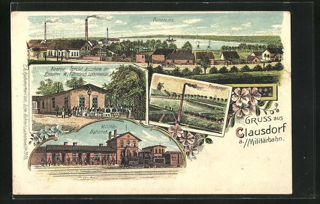 Lithographie Clausdorf a. Militärbahn, Kantine, Militär-Bahnhof, Tonberge