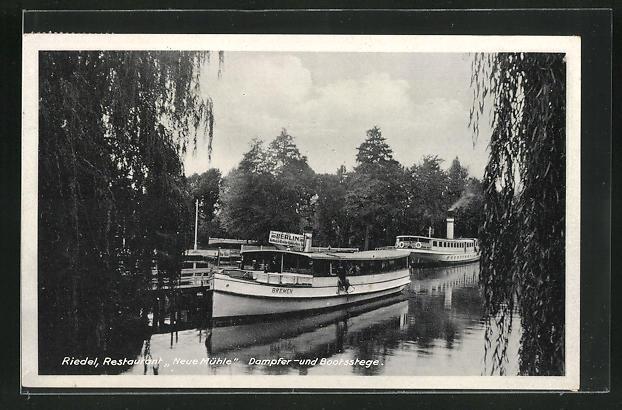 AK Neue Mühle, Restaurant Riedel, Dampfer- und Bootsstege