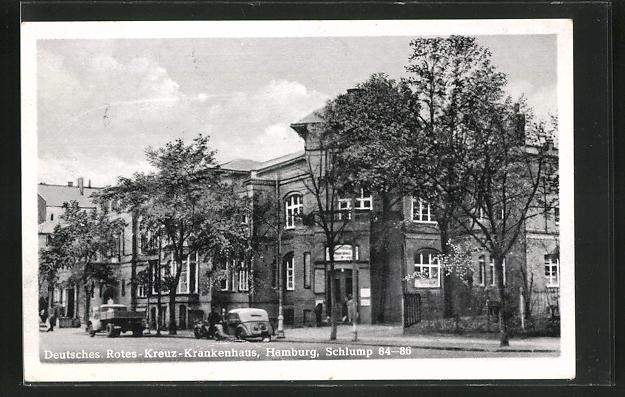 AK Hamburg-Harvestehude, Deutsches Rotes-Kreuz-Krankenhaus, Schlump 84-86