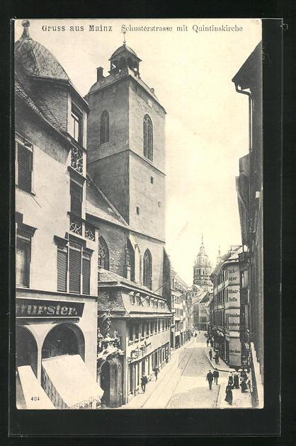 AK Mainz, Blick in die Schusterstrasse mit Quintinskirche