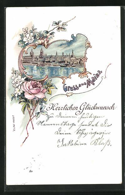 Lithographie Mainz, Grusskarte mit Blick auf den Ort