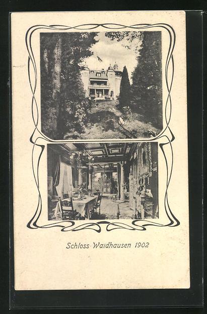 AK Gonsenheim, Ansicht vom Schloss Waldhausen 1902 mit Innenansicht