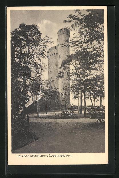 AK Gonsenheim, Gasthaus Waldschenke Lennenberg mit Aussichtsturm