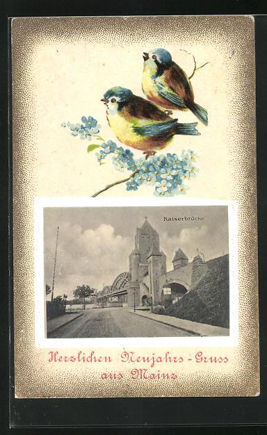 Präge-AK Mainz, Grüsskarte mit einem Bild von der Kaiserbrücke