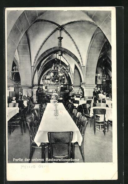 AK Mainz, Partie der unteren Restaurationsräume von der Gaststätte Heilig Geist
