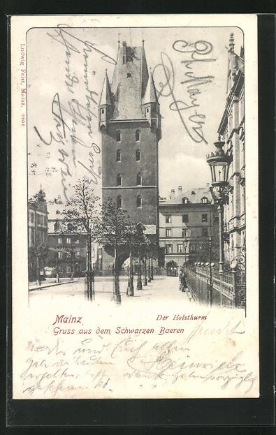 Lithographie Mainz, Ansicht vom Holzthurm und Vorplatz