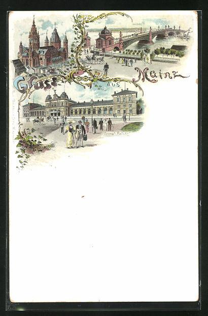 Lithographie Mainz, Gesamtansicht von dem Central-Bahnhof, Blick auf eine Brücke und Ansicht einer Kirche