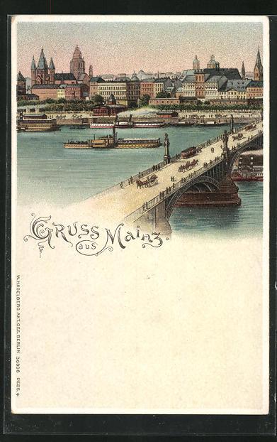 Lithographie Mainz, Ortsanansicht von der Brücke aus, Rückseite Bild von Mainz bei Nacht mit Brücke und Booten