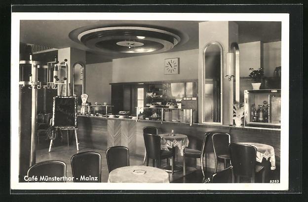 AK Mainz, Cafe Münsterthor, Inh.: Fritz Fett, Innenansicht