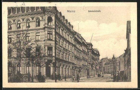 AK Mainz, Häuser in der Bahnhofstrasse