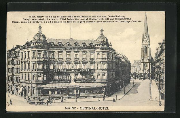 AK Mainz, Central-Hotel, Vorderansicht