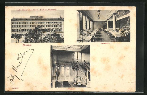 AK Mainz, Hotel Rheinischer Hof u. Carlton Restaurant, Vestibül, Speisesaal, Innenansicht