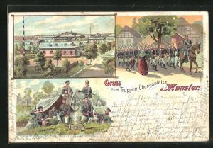 AK Munster, Truppen-Übungsplatze, Soldaten vor Zelt, Soldaten marschieren