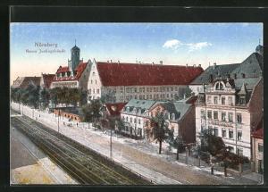 AK Nürnberg, Neues Justizgebäude mit Bahngleisen
