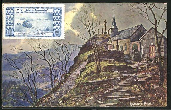 AK Milseburg / Rhön., Blick auf Kirche und Holzkreuz, Bäume ohne Blätter