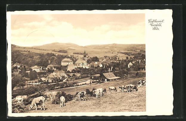 AK Gersfeld / Rhön, Totalansicht von Weide mit Kühen auf Ort mit Kirche, Häuser und Landschaft