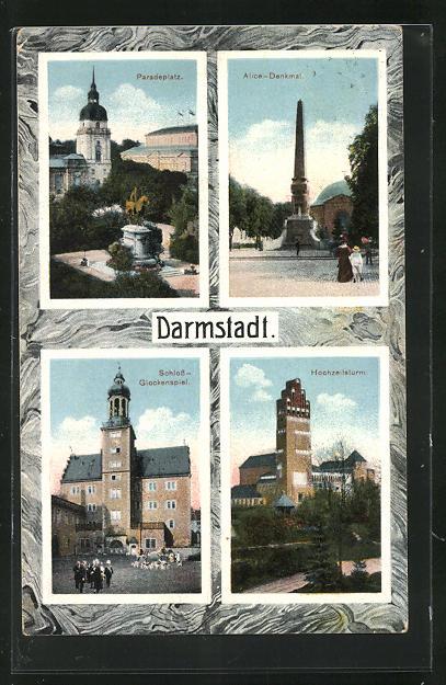 Passepartout-AK Darmstadt, Paradeplatz, Alice-Denkmal, Schloss-Glockenspiel, Hochzeitsturm