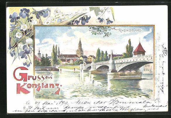 Künstler-AK Konstanz, Rheinbrücke