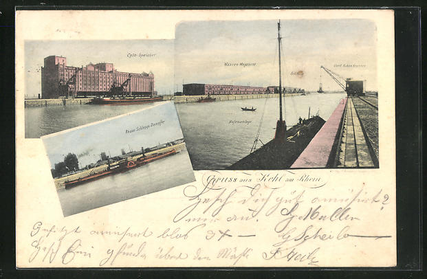AK Kehl am Rhein, Cylo-Speicher, Rhein-Schlepp-Dampfer, Ortspartie mit Hafenanlage, Waren Magazinen, Zollhalle