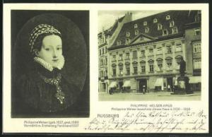 AK Augsburg, Philippine Welser-Haus, Bildnis Philippine Welser, vermählt mit Erzherzog Ferdinand