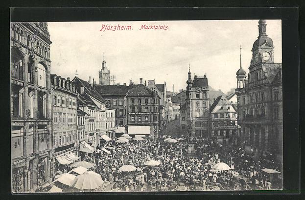 AK Pforzheim, Marktplatz, Gasthof, Marktstände