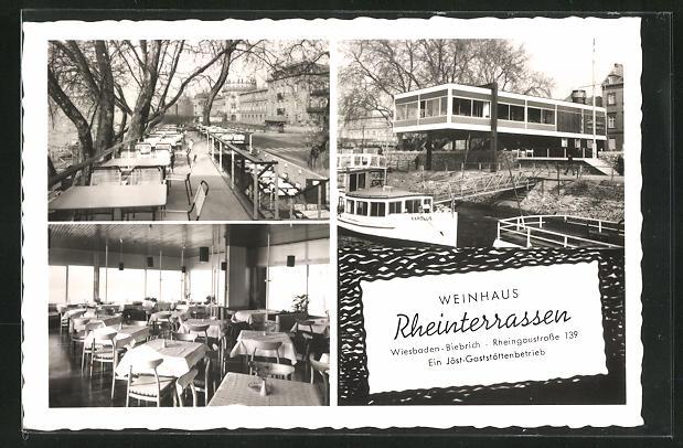 AK Wiesbaden-Biebrich, Weinhaus Rheinterrassen, Rheingaustrasse 39, Innenansicht, Aussenrestaurant