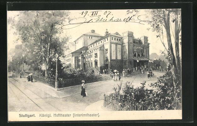 AK Stuttgart, Königl, Hoftheater, Eckfassade