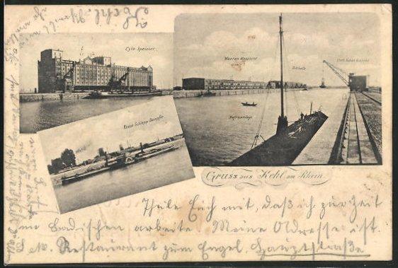 AK Kehl am Rhein, Cyla-Speicher, Rhein-Schlepp-Dampfer, Waaren Magazine, Hafenanlage, Zollhalle, Fleet