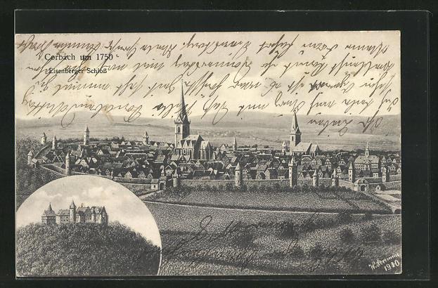 AK Corbach, Eisenberger Schloss, Ortsansicht mit Kirchtürmen um 1750