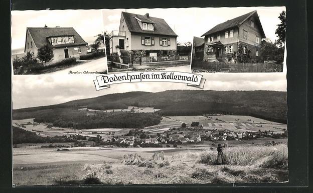 AK Dodenhausen im Kellerwald, Pension Schaumburg, Pension Hartmann, Pension Schäfer, Bäuerin bei der Ernte