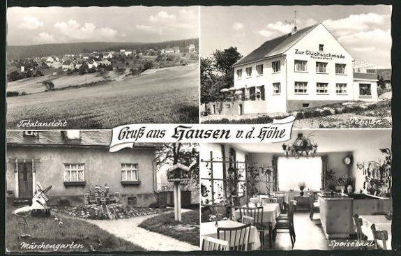 AK Hausen v. d. Höhe, Pension Zur Glücksschmiede, Speisesaal, Märchengarten, Totalansicht