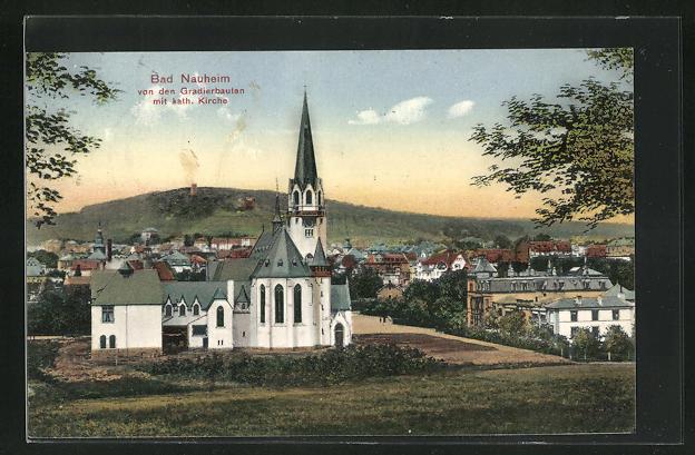 AK Bad Nauheim, Katholische Kirche von den Gradierbauten und Wohnhäuser