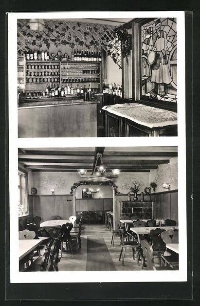 AK Mainz-Bischofsheim, Gasthof Weinhaus Krellmann, Ginsheimerstrasse 6, Innenansichten Bar u. Gastraum