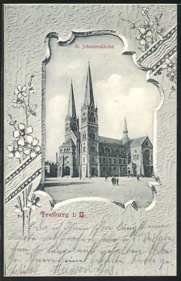 Passepartout-AK Freiburg i. B., St. Johanneskirche