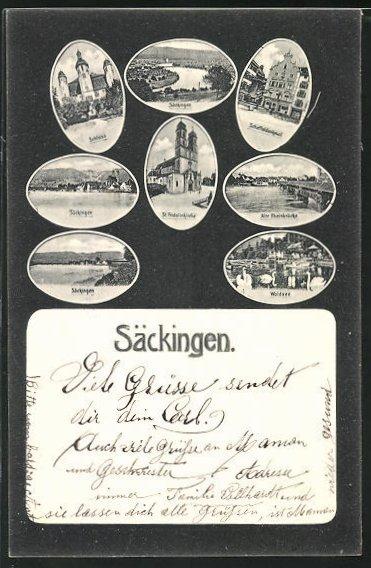 AK Säckingen, Wäldsee, Schloss, St. Fridolinkirche